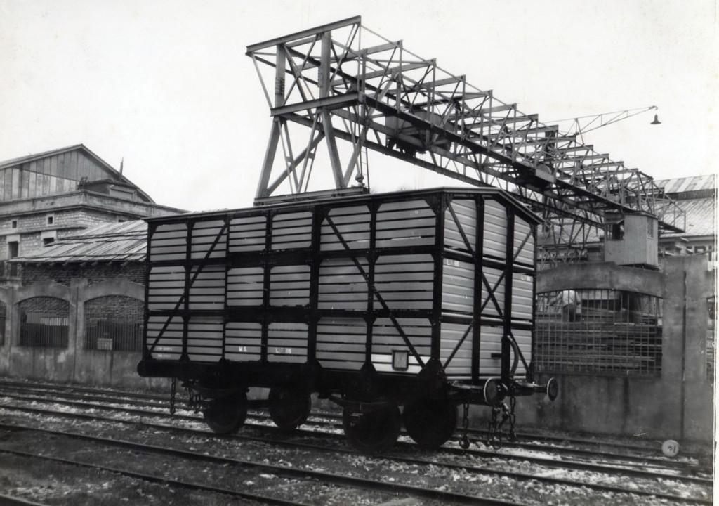 Vagón de tren para el transporte de ganado.